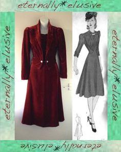 Genuine Original 1940s WW2 Vintage Velvet Midi Dress & Matching Jacket Size 8 10 60.00 FRN