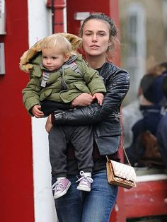 Edie, the blonde is getting bigger... she's beautiful, but I think she looks like her Dad, but he's cute, too, so...    Keira Knightley with her little Edie, in London 2/10/2016