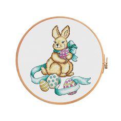 Easter bunny - cross stitch pattern - modern cross stitch easter bunny baby spring easter egg nest cute  funny festive ribbon easter décor