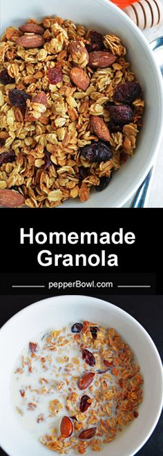 homemade Granola has great potential in solving most of the morning hassles. The super easy oil less, butter less homemade granola recipe is healthier, can be highly customizable to your individual preferences.   pepperbowl.com via @pepperbowl