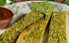 Warm, chewy Avocado Pesto Breadsticks slathered with a rich oil-free Pesto and topped with Vegan Parmesan. The perfect dipper!