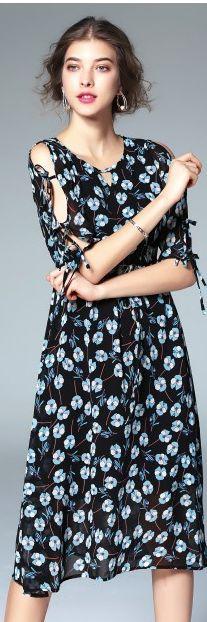 Blue Beach Print Cold Shoulder Lace Up Half Sleeve Midi Dress