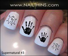 Supernatural Nail Decal Set 3 Nail Designs NAILTHINS Nail art design by NAILTHINS on Etsy https://www.etsy.com/listing/157378436/supernatural-nail-decal-set-3-nail