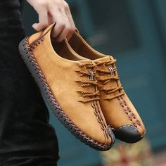 b9f941eac70 Men British Style Retro Stiching Soft Sole Lace Up Flat Cap-toe Shoes Ropa  En