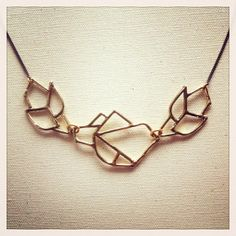 Black and Gold Open Geo Necklace