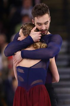 Gabriella Papadakis and Guillaume Cizeron of France celebrate after their Free Dance Program during Day 4 of the ISU World Figure Skating Championships 2016 at TD Garden on March 31, 2016 in Boston, Massachusetts. (March 30, 2016 - Source: Maddie Meyer/Getty Images North America)