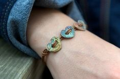 Brilliant Bronze Three Heart Button Bracelet with Soft Brown Leather – … - DIY Schmuck Ideen Ceramic Necklace, Ceramic Jewelry, Ceramic Beads, Clay Beads, Polymer Clay Crafts, Polymer Clay Jewelry, Jewelry Crafts, Handmade Jewelry, Women's Jewelry