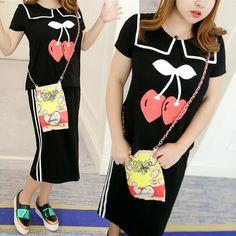 XL-4XL Cherry Printed Twinset Dress SP165976