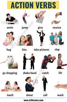 Action Verbs: List of Useful Action Words with the Pictures! - ESL Forums - Cinema - Movies and English Grammar For Kids, Learning English For Kids, English Phonics, Teaching English Grammar, English Lessons For Kids, English Vocabulary Words, Learn English Words, English Phrases, English Language Learning