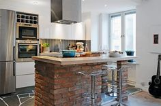 What do you think about using of bricks in kitchen?