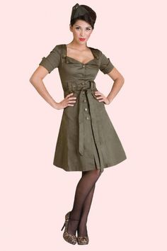 Vixen - 40s Retro Military Khaki A line dress