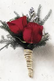 christmas wedding bouquets - Google zoeken  I like this idea but have wheat behind the roses instead of the pine.