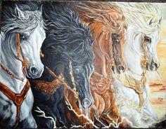 Not the horsemen but the horses, death, pestilence, war and famine, love this illustration.
