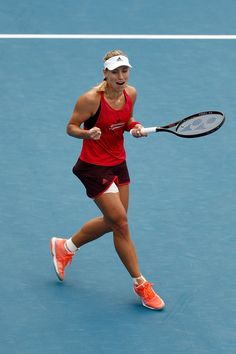 Angelique Kerber of Germany celebrates after winning the Women's Singles Final match against Ashleigh Barty of Australia during day seven of the 2018 Sydney International at Sydney Olympic Park Tennis Centre on January 13, 2018 in Sydney, Australia. -