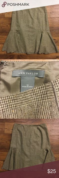 Ann Taylor brown cream wool skirt 10 Flirty flared style. Lined. Gently used. Back zipper. (A) Ann Taylor Skirts
