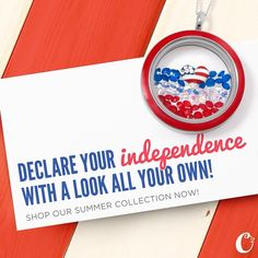 4th of July #Independence Day themed #Locket from #OrigamiOwl. Shop - Host - Join My Team #FourthofJuly #Patriotic #America