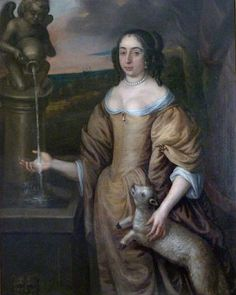 1650 Elizabeth, Countess of Carnarvon attributed to David Des Granges (for sale by Roy Precious) X 2 British Garden, Garden Fountains, Spring Nature, Baroque Fashion, 17th Century, Lady, Fine Art, Pets, Antiques