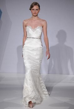 Brides: Mark Zunino for Kleinfeld - Spring 2013. Style MZBS1219, strapless satin and lace sheath wedding dress with a sweetheart neckline and beaded details, Mark Zunino for Kleinfeld