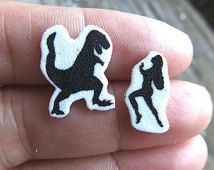 Dinosaur T-Rex and Woman Silhouette Geekery Stud Post Fun Earrings