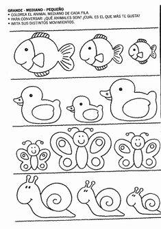 small medium large worksheets for kindergarten Preschool Learning Activities, Kindergarten Worksheets, Toddler Activities, Preschool Activities, Math For Kids, Home Schooling, Pre School, Kids And Parenting, Education