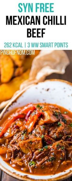 Mexican Chilli Beef – Pinch Of Nom Syn Free Mexican Chilli Beef Slow Cooker Chilli, Healthy Slow Cooker, Slow Cooker Recipes, Cooking Recipes, Cooking Ideas, Slimming World Dinners, Slimming World Recipes Syn Free, Slimming Eats, Slimming World Chilli Beef