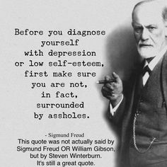 Before you diagnose yourself with depression or low self-esteem, be sure that you are not, in fact, surrounded by assholes.- Steven Winterburn