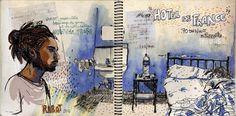 Delphine Dussoubs 21ans et étudiante, dessine sa vision du Maroc durant un voyage de deux semaines dans le pays et gagne le deuxième prix de carnet de voyage illustré du concours Jeunesse d'un tour du monde 2009 de Libération Voyages.