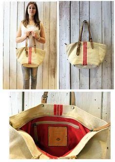DuDù Grezzo- Handmade Italian Leather & Canvas Tote Handbag di LaSellerieLimited su Etsy