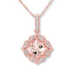 Morganite Necklace 1/10 ct tw Diamonds 10K Rose Gold