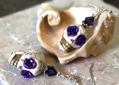 Sugar Skull Earrings White Skulls with Purple Rose by JensFancy
