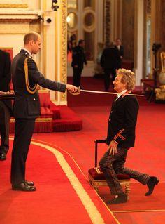 Sir Rod Stewart! Prince William Knights Grammy Winner at Buckingham�Palace
