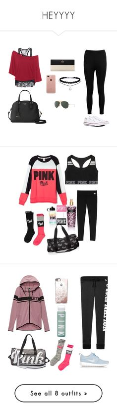 """""""HEYYYY"""" by ashlynnebagnal on Polyvore featuring Boohoo, Converse, Kate Spade, Belkin, Ray-Ban, Victoria's Secret, NIKE, Casetify, Jessica Simpson and The North Face"""