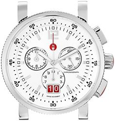 MICHELE Women's MW01K00D9001 Sport Sail Large Analog Display Swiss Quartz Silver Watch Head -