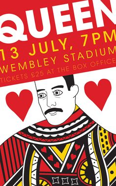 Another concert poster design. Tour Posters, Band Posters, Vintage Concert Posters, Vintage Posters, Concert Rock, Queen Poster, Vintage Music, Freddie Mercury, Art Music