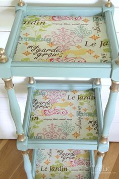 Thrifty Makeover with French Fabric Decoupage - Artsy Chicks Rule® Decopage Furniture, Chalk Paint Furniture, My Furniture, Repurposed Furniture, Shabby Chic Furniture, Furniture Projects, Furniture Makeover, Refurbished Furniture, Furniture Refinishing
