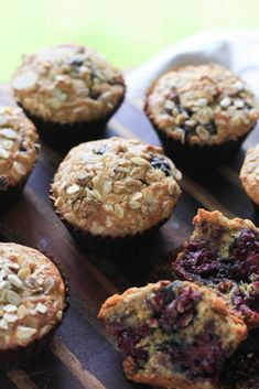 Super tender adn moist Blackberry Muesli Muffins withtons of flavor and healthy. Low in sugar, high in fiber and protein, these are a great breakfast and snack choice.  - notjustbaked.com