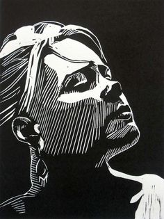 """Awaiting"" linocut by Mark Rowden. http://www.wingedlionpress.com.au/ Tags:  Woman, Portrait, Profile, Linocut, Cut, Print, Linoleum, Lino, Carving, Block, Woodcut, Helen Elstone."