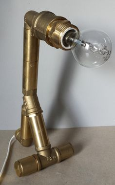 Industrial small golden desk lamp...