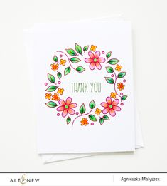 """Hello Everyone! It's Aga here, and today I'm sharing a simple, one layer card using the Doodle Blossom set. First I stamped the """"thank you"""" sentiment from the Baby Zoo set. I love this font and I t..."""