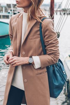 Jess Kirby styles a camel wool coat for fall