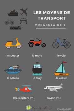 French vocabulary - Means of transport 2 French Language Lessons, French Language Learning, Learn A New Language, French Lessons, French Verbs, French Grammar, French Phrases, Basic French Words, How To Speak French