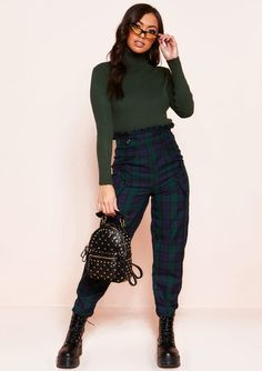 40e9fd0f21c9 Missyempire - Tiana Navy Checked High Waist Paperbag Trousers Roll Neck  Jumpers