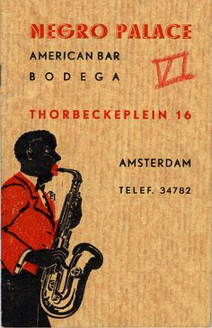This is a brochure for a 'new attraction in Amsterdam': the Negro Palace. This 'American Bar' opened at number 16 Thorbeckeplein in 1936. The bar, which employed a great many black men, soon acquired an unsavoury reputation. The men were alleged to be committing sexual offences with white girls, some of whom were still minors. The police kept a watch on the bar.