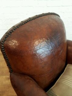 Restored Antique 20s Art Deco French Studded Brown Leather Club Chair Howard Vtg | 20th Century | Chairs - Zeppy.io Leather Club Chairs, Old Chairs, French Art, Chesterfield, French Antiques, Saddle Bags, Sofas, Brown Leather, Restoration