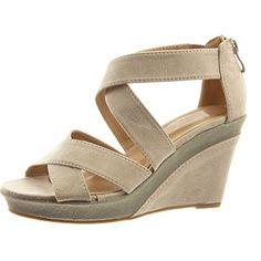Sopily - Scarpe da Moda sandali Aperto Zeppe alla caviglia donna multi-briglia…