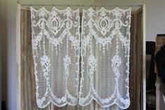 PAIR OF ANTIQUE VINTAGE FRENCH LACE CURTAINS