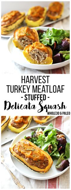 This Harvest Turkey Meatloaf Stuffed Delicata Squash is the perfect fall time meal! It is whole30, paleo and so easy to throw together!