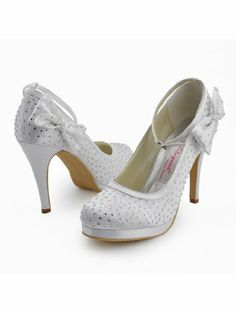 d1d1d4f4e634 EP2012-PF Ivory Round Toe Platform Satin Rhinestones Bowknot Wedding  Evening   Party Shoes US