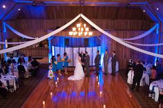 Inside ceremony with Peaked Fabric at Pavilion on Crystal Lake