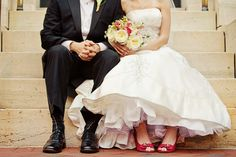 love this wedding picture... the dress, flowers, and the red shoes! photography by bobbi+mike
